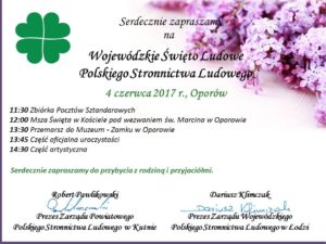 Wojewódzkie Święto Ludowe w Oporowie – zaproszenie